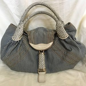Fendi Striped Blue/White Denim & Leather Spy Hobo